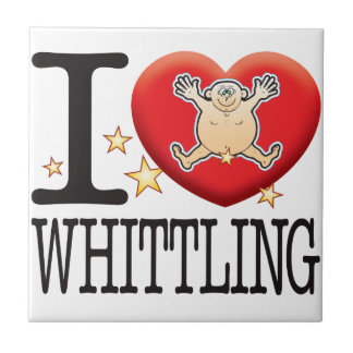 Whittling Love Man Small Square Tile