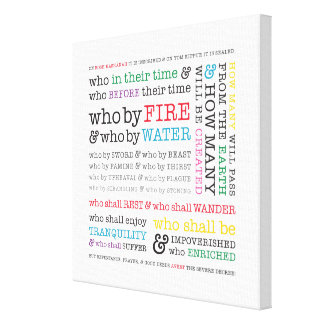 Who By Fire? Rosh Hashanah Graphic Canvas Stretched Canvas Prints