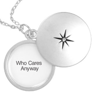 Who Cares Anyway.ai Round Locket Necklace