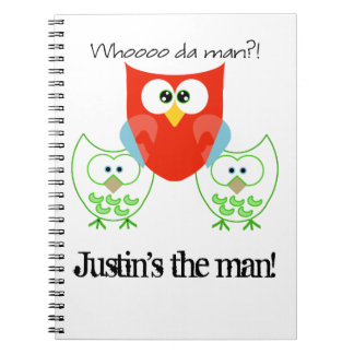 Who da Man? 3 Retro Colored Owls Notebooks