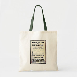 Who Do You Know In A Fighting Uniform? Canvas Bags