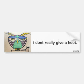 Who Gives A Hoot? Bumper Stickers