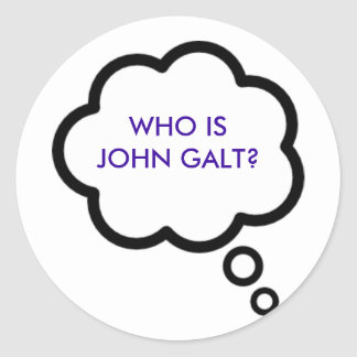 WHO IS JOHN GALT? Thought Cloud Round Sticker