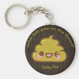 "Who left ""cutey"" poo on the floor? key ring"