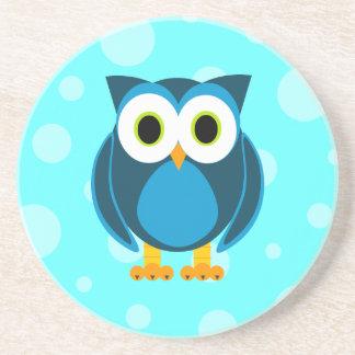 Who? Mr. Blue Owl Blue Background Coaster