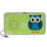 Who? Mr. Blue Owl Green Background and Dots Mini Speakers