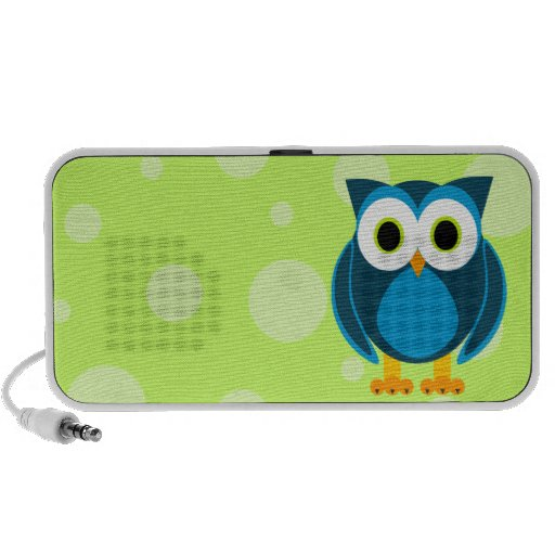 Who? Mr. Blue Owl Green Background and Dots Portable Speakers