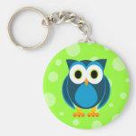 Who? Mr. Owl Cartoon Basic Round Button Key Ring