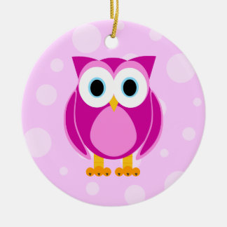 Who? Mrs. Pink Owl Pink Background Christmas Ornament
