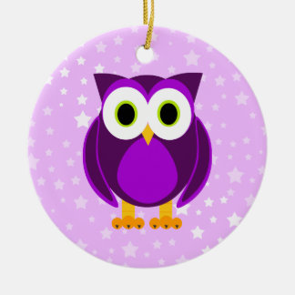 Who? Mrs. Purple Owl Star Background Christmas Ornament