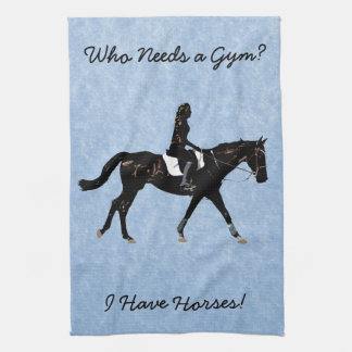 Who Needs a Gym? Fun Horse Tea Towel