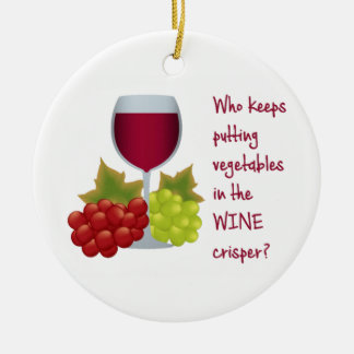 Who put vegetables in the wine crisper?  Funny Christmas Ornament