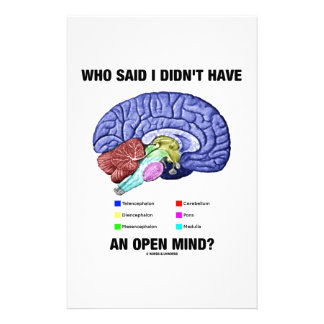 Who Said I Didn't Have An Open Mind? (Brain Humor) Custom Stationery