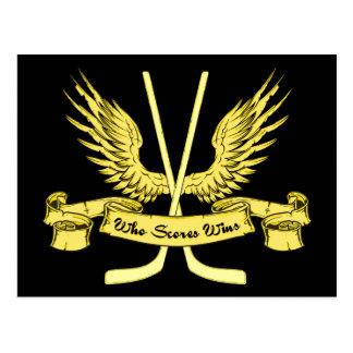 Who Scores Wins Ice Hockey Postcard