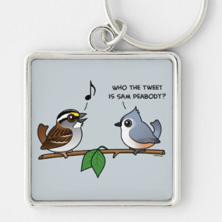 Who the Tweet? Silver-Colored Square Key Ring