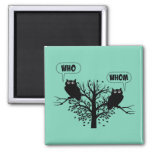 Who Whom Grammar Humour Owls Square Magnet