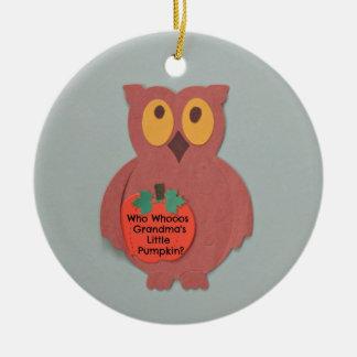Who Whoos Grandma's Little Pumpkin Christmas Ornament