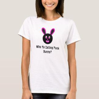 Who Ya Calling Puck Bunny Pink and Black Cami T-Shirt