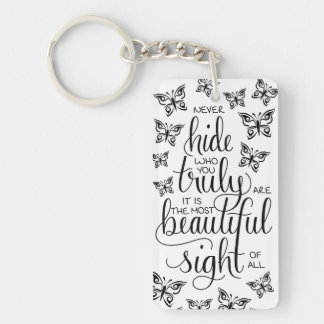 Who You Are Beautiful, Butterflies Keyring Single-Sided Rectangular Acrylic Key Ring