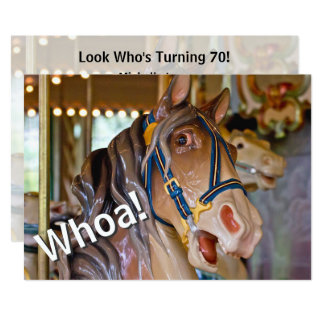 Whoa! Look Who's 70 Carousel Horse Birthday Invite