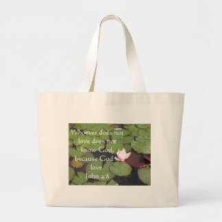 Whoever does not love does not know God,. John 4:8 Jumbo Tote Bag