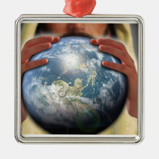 Whole World in His Hands Silver-Colored Square Decoration