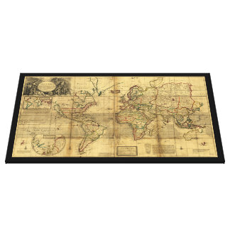 Whole World Map by Herman Moll (1719) Gallery Wrap Canvas