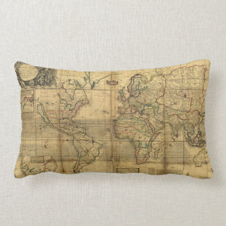 Whole World Map by Herman Moll (1719) Lumbar Pillow