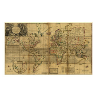 Whole World Map by Herman Moll (1719) Poster