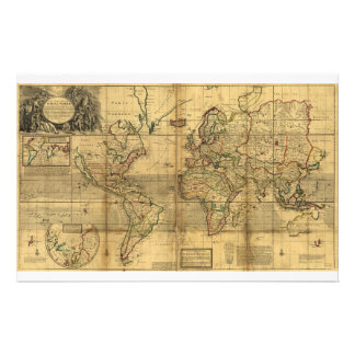 Whole World Map by Herman Moll (1719) Stationery Paper