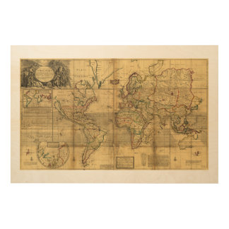 Whole World Map by Herman Moll (1719) Wood Canvases