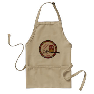 Whoo Loves You Cute Owl Tribal Pattern Moon Branch Adult Apron