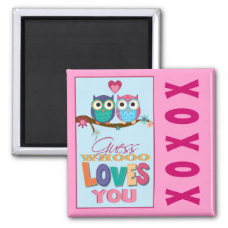 Whoo Loves You Square Magnet