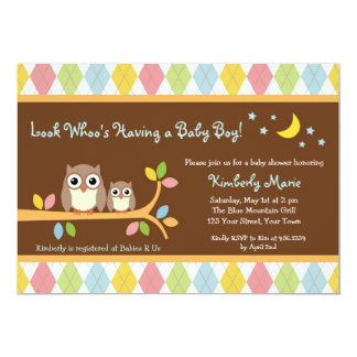 Whoo Loves You Owl Boy Baby Shower Invitation