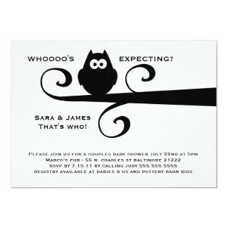 Whooooo's expecting MOD owl silhouette on branch 13 Cm X 18 Cm Invitation Card