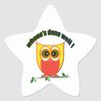 whooo's done well, cute owl star sticker