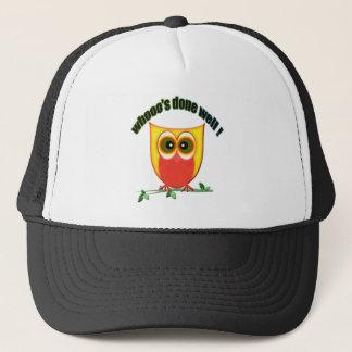 whooo's done well, cute owl trucker hat