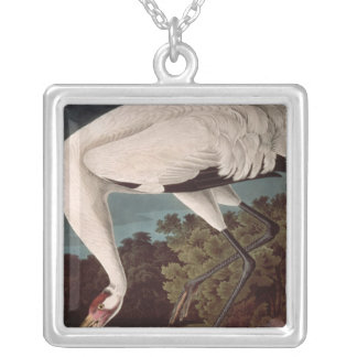 Whooping Crane, from 'Birds of America' Silver Plated Necklace
