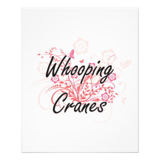 Whooping Cranes with flowers background 11.5 Cm X 14 Cm Flyer
