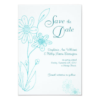Whoopsie Daisy Simple Aqua Blue Save the Date 9 Cm X 13 Cm Invitation Card