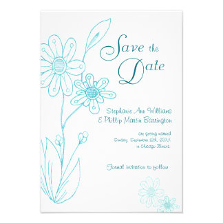 Whoopsie Daisy Simple Aqua Blue Save the Date Invitations
