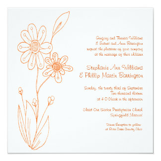 Whoopsie Daisy Simple Flowers Orange Wedding 13 Cm X 13 Cm Square Invitation Card