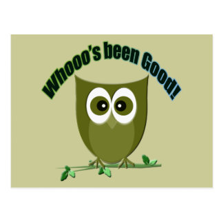 Who's been good, cute owl greeting cards postcard
