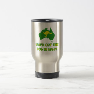 Who's cut the dog in half travel mug