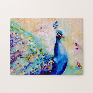 """Who's the Prettiest?"" Peacock and Hummingbirds Jigsaw Puzzle"