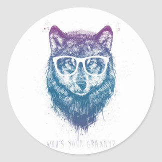 Who's your granny? round sticker
