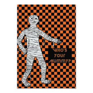 Who's Your Mummy Halloween 3.5x5 Paper Invitation Card