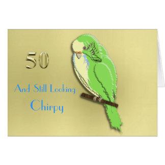 Whose a Pretty Boy Then Cute Budgie 50th Milestone Card