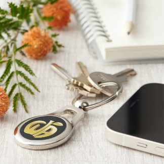 Whose Apple Metal Keychain Silver-Colored Oval Key Ring