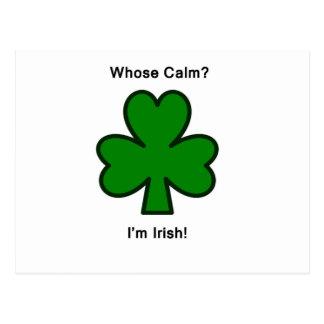 Whose Calm?  I'm Irish? Postcard